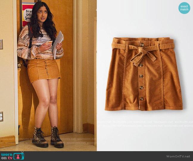 Corduroy A line Skirt by American Eagle worn by Devi Vishwakumar (Maitreyi Ramakrishnan) on Never Have I Ever