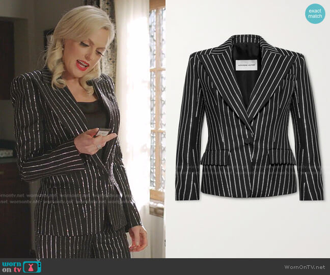 Crystal-Embellished Wool Blazer by Alexandre Vauthier worn by Alexis Carrington (Elaine Hendrix) on Dynasty