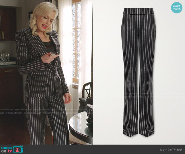 Crystal-Embellished Wool Pants by Alexandre Vauthier worn by Alexis Carrington (Elaine Hendrix) on Dynasty