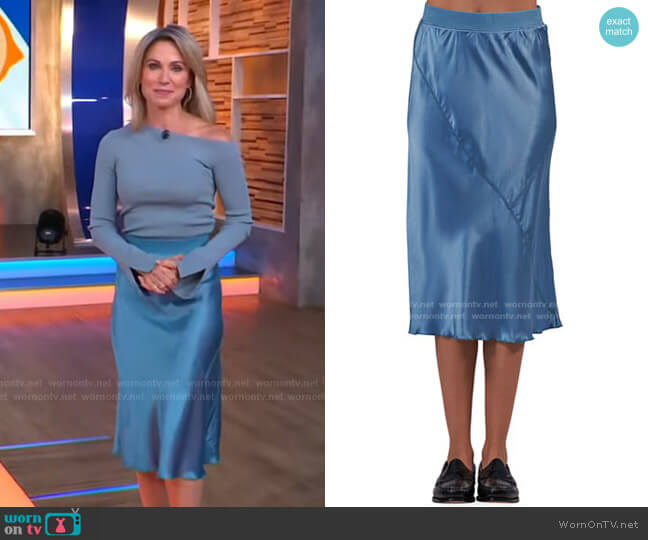 Silk Midi Pull-On Skirt by ATM Anthony Thomas Melillo worn by Amy Robach  on Good Morning America