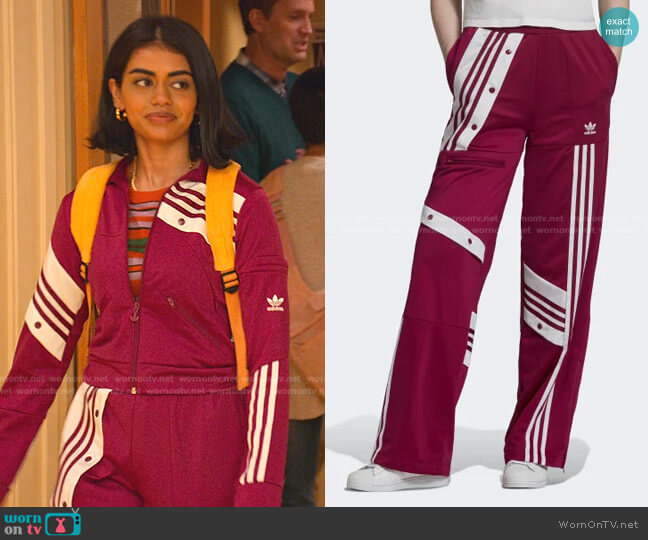 Danielle Cathari Track Pants by Adidas worn by Aneesa (Megan Suri) on Never Have I Ever