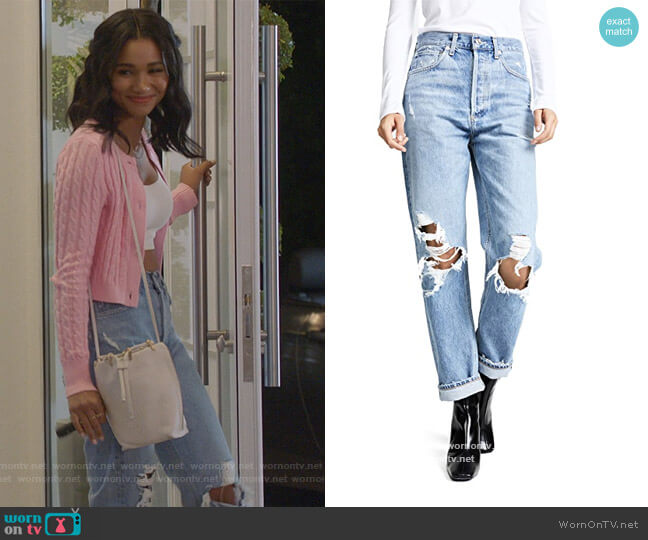 90s Fit Mid Rise Loose Fit Jeans by Agolde worn by Layla Keating (Greta Onieogou) on All American