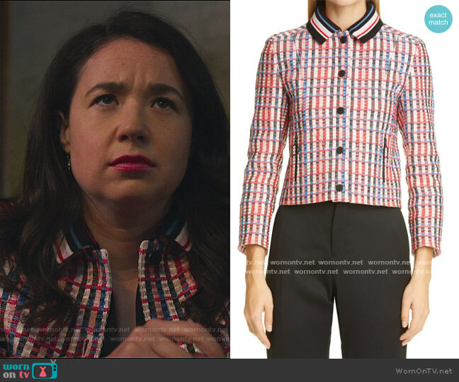 Check Tweed Cotton Blend Jacket by Akris Punto worn by Marissa Gold (Sarah Steele) on The Good Fight
