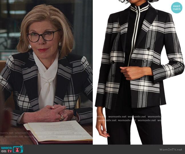 Faux Double Breasted Plaid Blazer by Akris Punto worn by Diane Lockhart (Christine Baranski) on The Good Fight