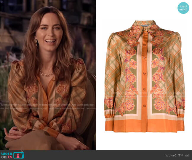 Floral Check Print shirt by Alberta Ferretti worn by Emily Blunt on Live with Kelly and Ryan