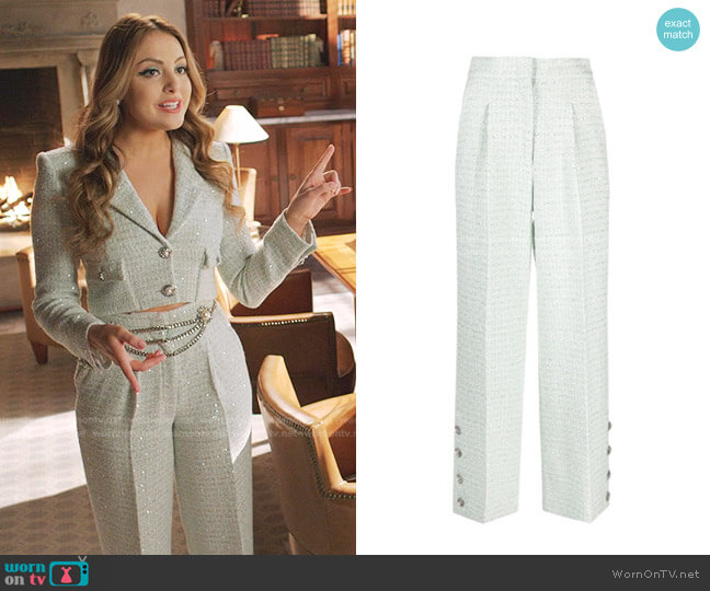 Button-Embellished Sequined Wool-Blend Tweed Pants by Alessandra Rich worn by Fallon Carrington (Elizabeth Gillies) on Dynasty
