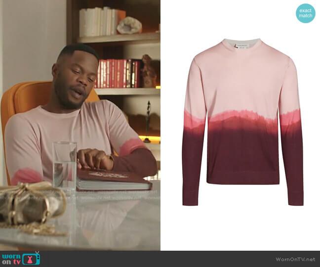 Dip-Dye Silk Crewneck Sweater by Alexander McQueen worn by Jeff Colby (Sam Adegoke) on Dynasty