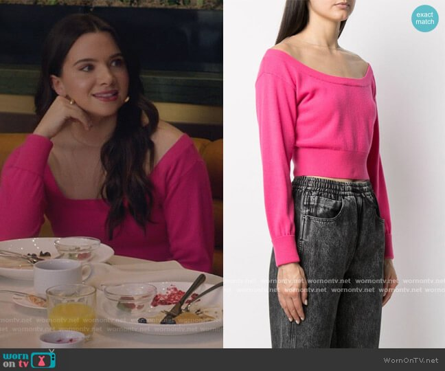 Off the Shoulder Cropped Jumper by Alexander Wang worn by Jane Sloan (Katie Stevens) on The Bold Type