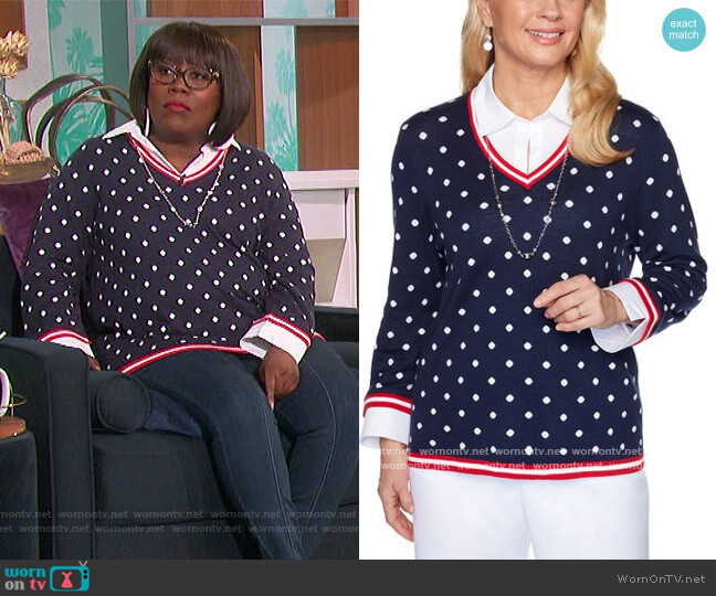 Navy Polka Dot Sweater & Necklace by Alfred Dunner worn by Sheryl Underwood  on The Talk
