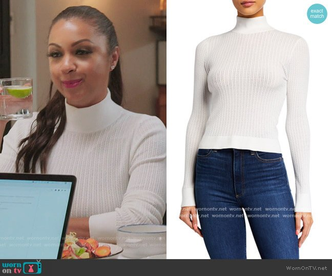 Lanie High-Neck Long-Sleeve Pullover Sweater by Alice + Olivia worn by Eboni K. Williams (Ebony K. Williams) on The Real Housewives of New York City