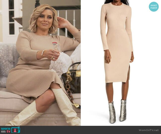 Ribbed long sleeve midi dress by All in Favor worn by Robyn Dixon  on The Real Housewives of Potomac