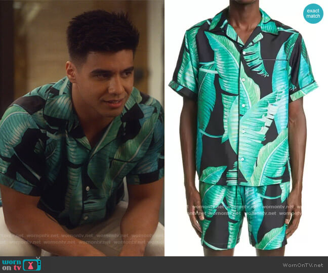 Banana Leaves Silk Button-Up Camp Shirt by Amiri worn by Vivek Shah (Jordan Buhat) on Grown-ish