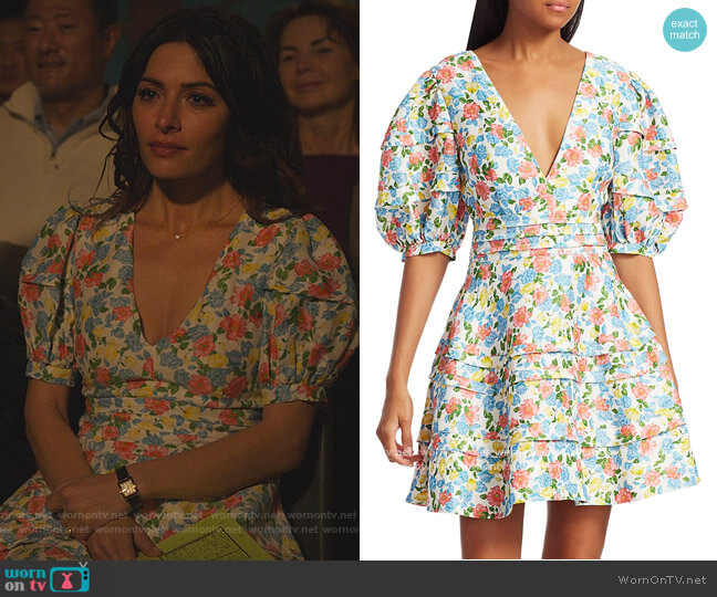 Avian Floral Puff-Sleeve Fit & Flare Dress by Amur worn by Billie Connelly (Sara Shari) on Sex/Life