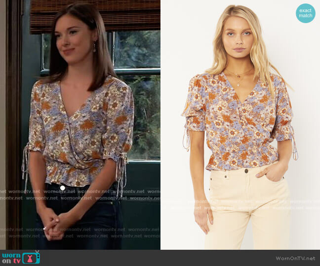 Daydream Woven Blouse by Amuse Society worn by Willow Tait (Katelyn MacMullen) on General Hospital