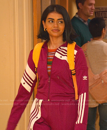 Aneesa's pink Adidas track jacket and pants on Never Have I Ever