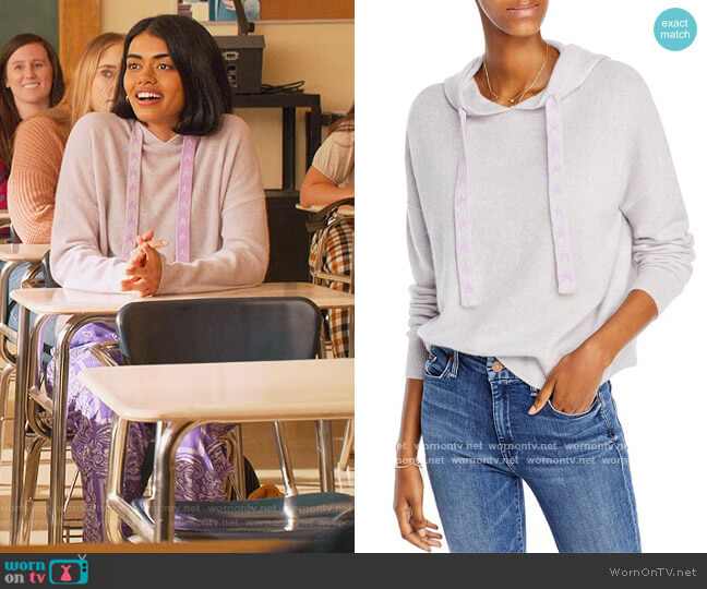 Cashmere Star Cord Hoodie by Aqua Cashmere worn by Aneesa (Megan Suri) on Never Have I Ever