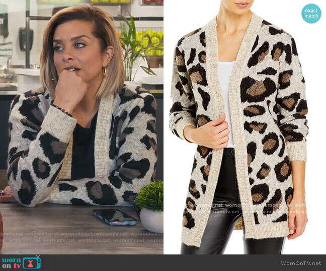 Leopard Open-Front Cardigan by Aqua worn by Robyn Dixon  on The Real Housewives of Potomac