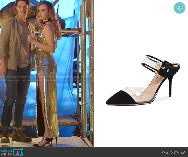 Optic 85mm Mules by Aquazzura worn by Kirby Anders (Maddison Brown) on Dynasty