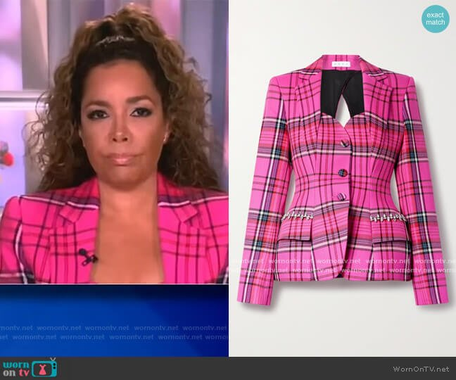 Hourglass cutout crystal-embellished checked Blazer by Area worn by Sunny Hostin  on The View