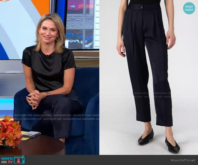 Satin Tailored Pants in Deep Navy by Atm Anthony Thomas Melillo worn by Amy Robach  on Good Morning America