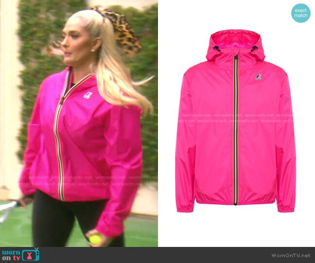 Front Zip Hooded Jacket by K-Way worn by Erika Jayne  on The Real Housewives of Beverly Hills