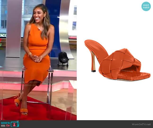 BV Lido Slide Sandal by Bottega Veneta worn Tayshia Adams on GMA by