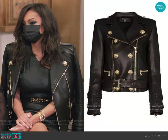 Double-breasted Biker Jacket by Balmain worn by Eboni K. Williams (Ebony K. Williams) on The Real Housewives of New York City