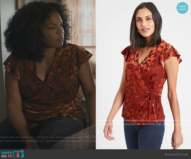Petite Velvet Wrap Top by Banana Republic worn by Nina (Tyla Abercrumbie) on The Chi