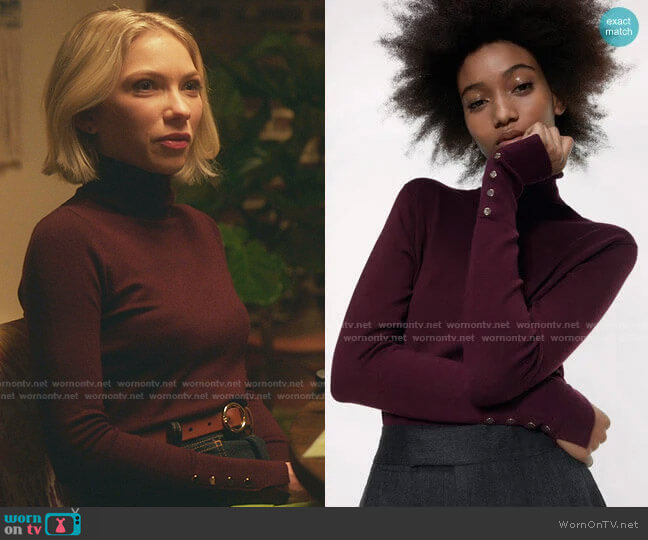 Basic Turtleneck Sweater in Burgundy by Zara worn by Kate Keller (Tavi Gevinson) on Gossip Girl