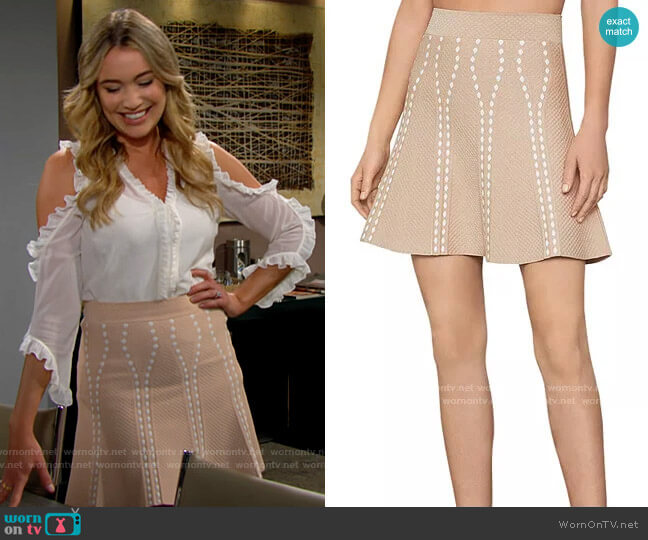 Bcbgmaxazria Ingrid Skirt in Pale Pink worn by Flo Fulton (Katrina Bowden) on The Bold & the Beautiful