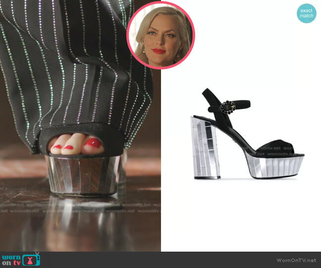 Belluci Mirror Platform Suede Sandals by Dolce & Gabbana worn by Alexis Carrington (Elaine Hendrix) on Dynasty
