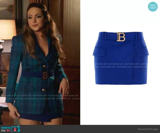 Belted Short Skirt by Balmain worn by Fallon Carrington (Elizabeth Gillies) on Dynasty