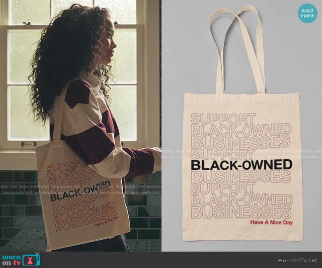 Black Owned Business Canvas Bag by Happy Me Tee worn by Zoya Lott (Whitney Peak) on Gossip Girl