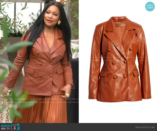 The Nightingale Faux Leather Blazer by Blank NYC worn by Garcelle Beauvais  on The Real Housewives of Beverly Hills