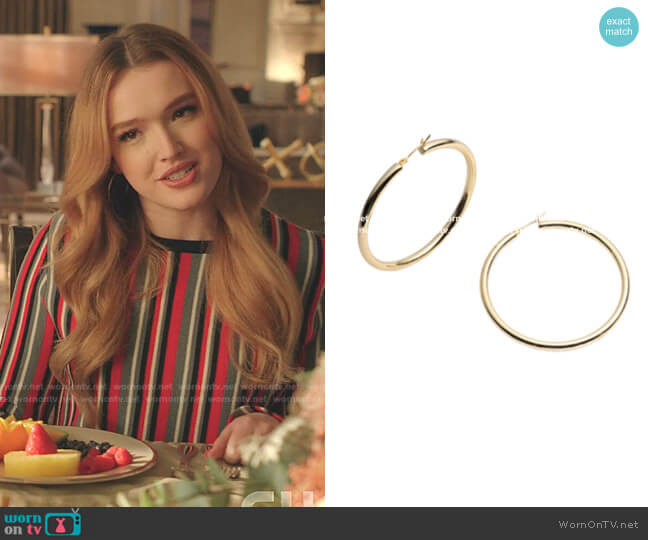 Margot Thin Gold Hoop Earrings by Bonheur worn by Kirby Anders (Maddison Brown) on Dynasty
