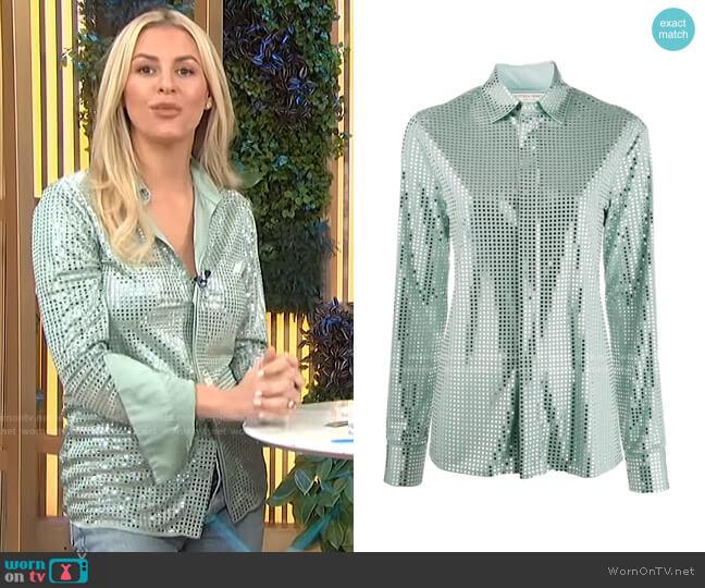 Mirror Sequin Detail Shirt by Bottega Veneta worn by Morgan Stewart  on E! News