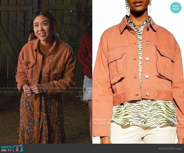 Brown Cropped Denim Jacket by Topshop worn by Eleanor Wong (Ramona Young) on Never Have I Ever