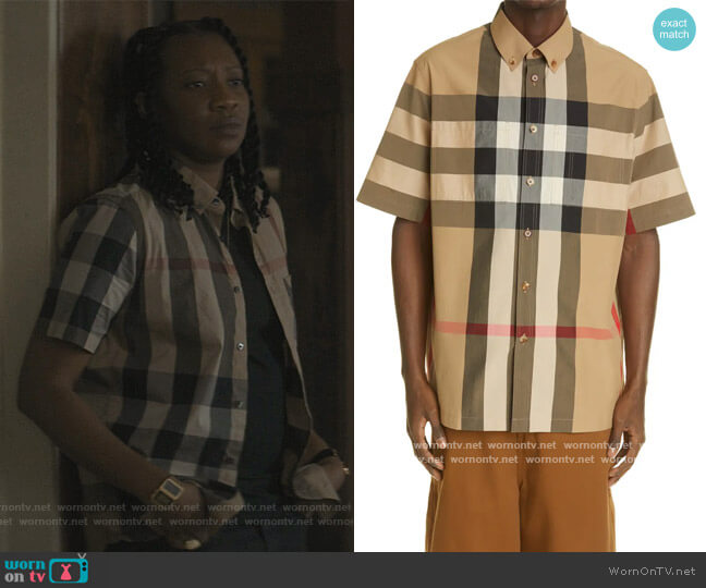 Thames Check Short Sleeve Button-Down Shirt by Burberry worn by Miriam A. Hyman on The Chi