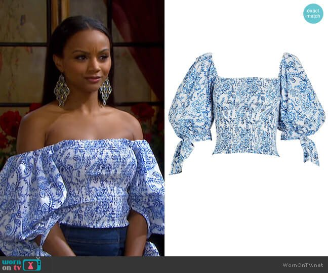 Finley Paisley Puff Sleeve Top by Caroline Constas worn by Chanel Dupree (Raven Bowens) on Days of our Lives