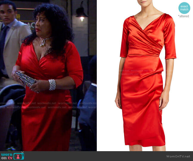 V-Neck Elbow-Sleeve Ruched Satin Dress by Chiara Boni La Petite Robe worn by Paulina Price (Jackée Harry) on Days of our Lives
