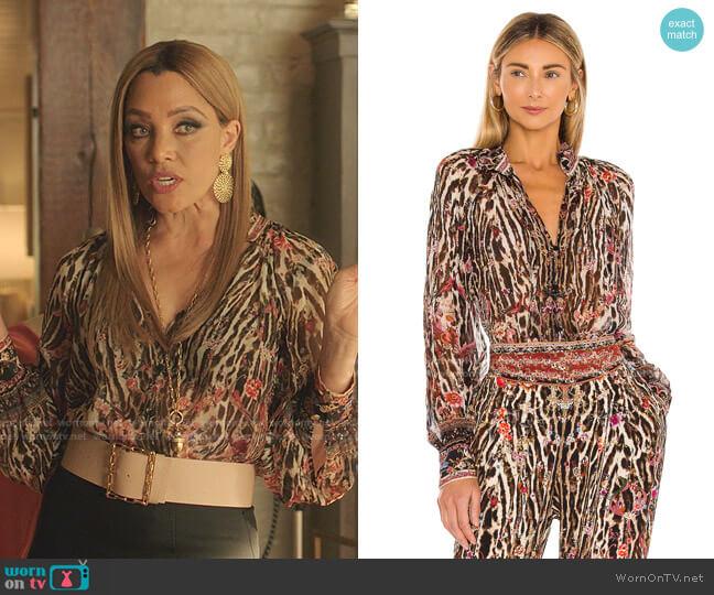 Raglan Button Up Shirt by Camilla worn by Dominique Deveraux (Michael Michele) on Dynasty