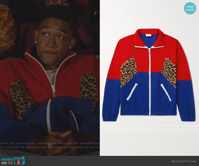 Colour-Block Fleece Track Jacket by Celine Homme worn by Peyton Alex Smith on All American