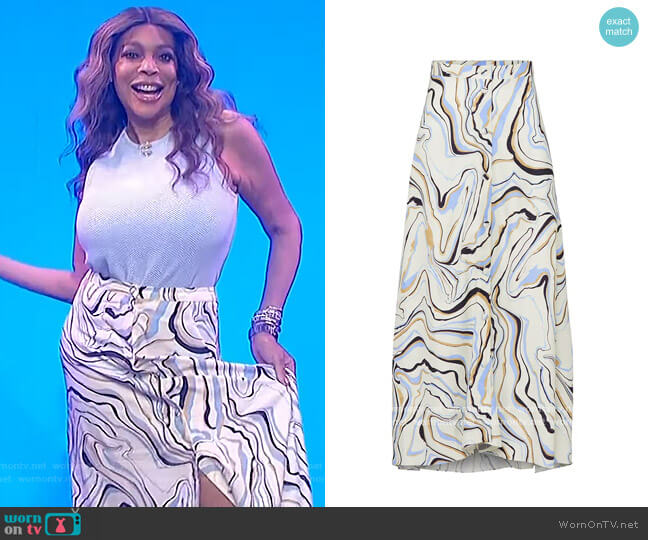 Marble Skirt by Chinti & Parker worn by Wendy Williams  on The Wendy Williams Show