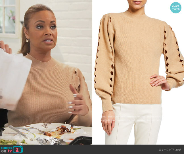 Scalloped cut-out knitteed Jumper by Chloe worn by Gizelle Bryant  on The Real Housewives of Potomac