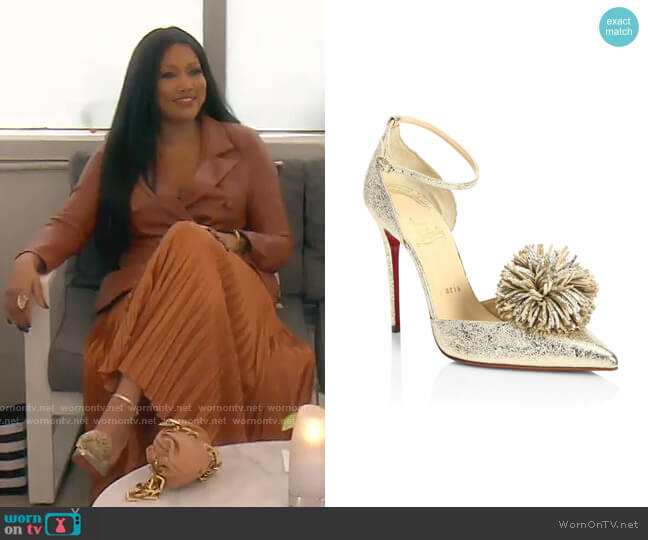 Tsarou  Pompom Pumps by Christian Louboutin worn by Garcelle Beauvais  on The Real Housewives of Beverly Hills