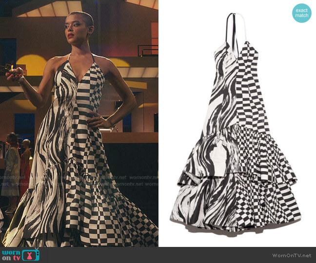 Graphic Cotton Halter Maxi Dress by Christopher John Rogers worn by Julien Calloway (Jordan Alexander) on Gossip Girl