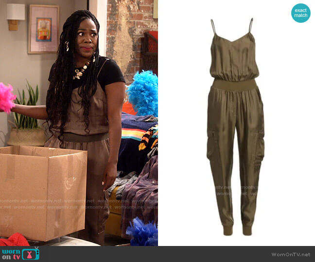 Cinq a Sept Amia Jumpsuit worn by Harper (Laci Mosley) on iCarly