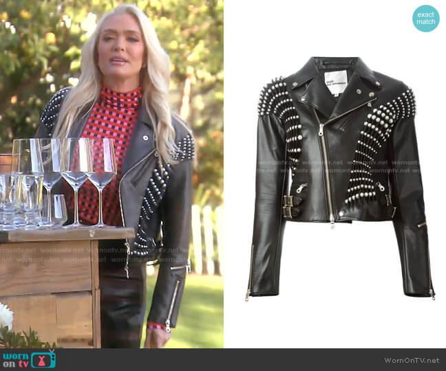 Pearl Pleated Biker Jacket by Comme Des Garçons Noir Kei Ninomiya worn by Erika Jayne  on The Real Housewives of Beverly Hills