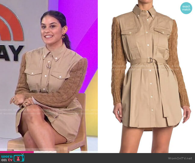 Vivian Mixed Media Shirt Dress by Derek Lam 10 Crosby worn by Donna Farizan  on Today