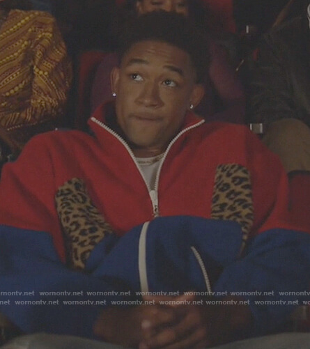 Damon's colorblock leopard jacket on All American